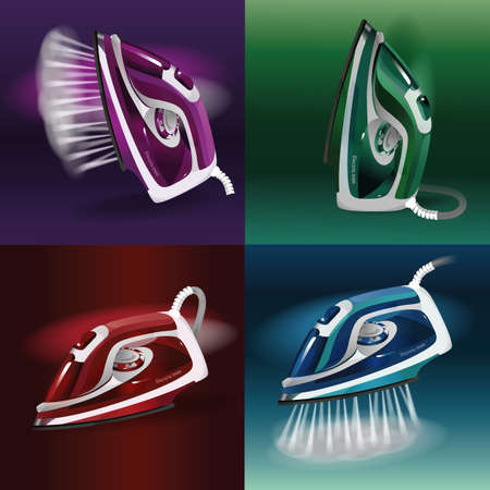 Abstract model of a modern electric iron with steam function. Set. Different colors and positions of iron. 向量圖像