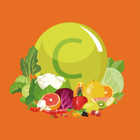 Vitamin C or Ascorbic acid. Natural organic vegetables, fruits and berries with the maximum content of vitamin C. Bright composition. The Basics of Healthy Eating