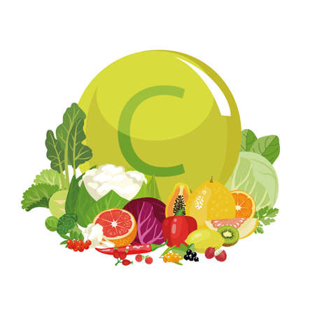 Natural organic foods with vitamin C