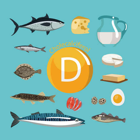 Vitamin D Food sources. Natural organic products with the maximum vitamin content. Reklamní fotografie - 94607695