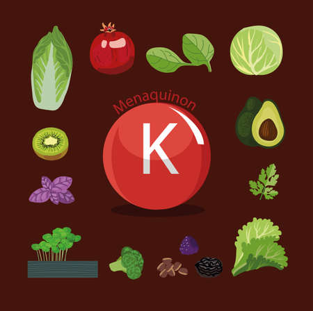 Vitamine K Natuurlijke biologische groenten en fruit, met het hoogste gehalte aan vitamine K. Gekleurde achtergrond