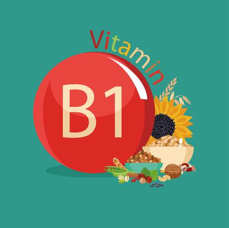 Vitamine B1. Natuurlijke biologische producten met het maximale gehalte aan vitamine B1 Stock Illustratie
