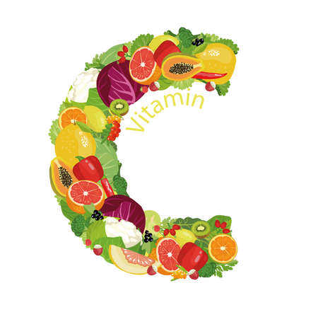 Vitamin C The composition of natural organic vegetables and fruits, with the highest content of vitamin C in the letter designation of vitamin C. Illustration