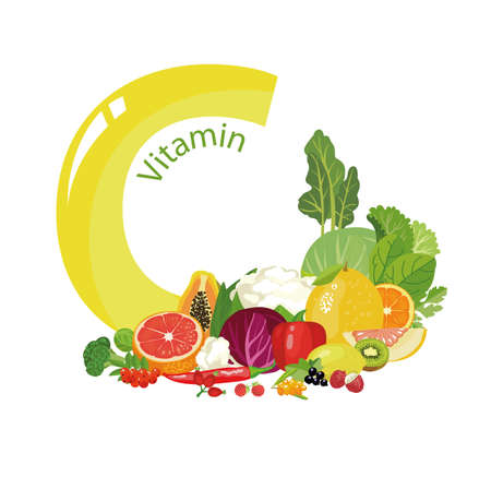 Vitamin C A composition of natural organic vegetables and fruits, with the highest content of vitamin C and a letter. Illustration