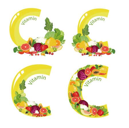 Vitamin C A set of a composition of natural organic vegetables and fruits, with the highest content of vitamin C and the letter designation of vitamin C. Illustration