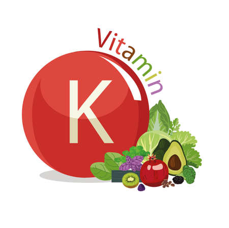 Vitamin K Natural organic vegetables and fruits, with the highest content of vitamin K.