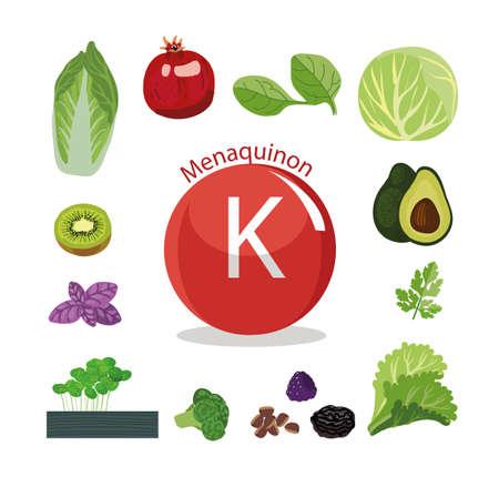 Vitamine K Natuurlijke biologische groenten en fruit, met het hoogste gehalte aan vitamine K. Stock Illustratie