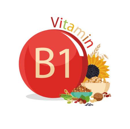 Vitamine B1 Natuurlijke biologische producten met het maximale gehalte aan vitamine B1