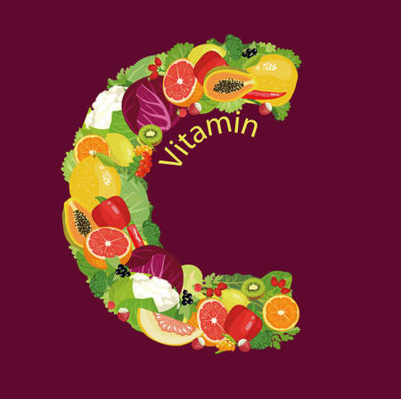 Vitamin C The composition of natural organic vegetables and fruits, with the highest content of vitamin C in the letter designation of vitamin C. Colour