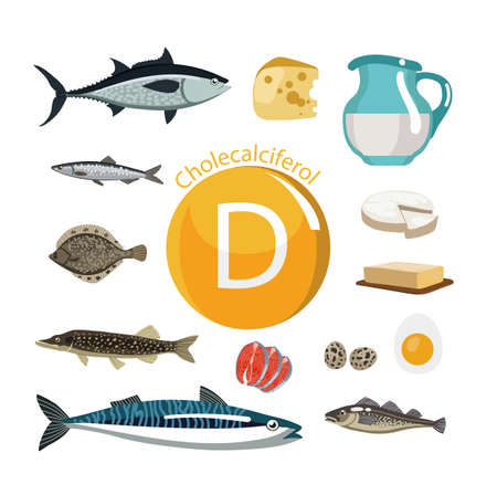 Vitamine D Voedselbronnen. Natuurlijke biologische producten met het maximale vitaminegehalte. Stockfoto - 94678926