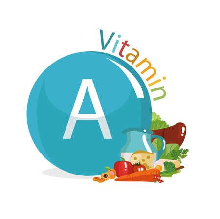 비타민 A 레티놀과 카로틴. 음식 소스. 유기농 제품의 성분