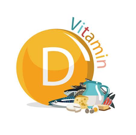 Vitamine D (cholecalciferol). Voedselbronnen. Natuurlijke biologische producten met het maximale vitaminegehalte. Stockfoto - 94940723