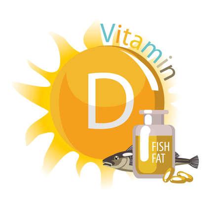 Vitamin D. Sources - the sun and fish oil. Vettoriali