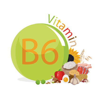 Vitamin B6 Food sources. Natural organic products with the maximum content of vitamin B6. Illustration