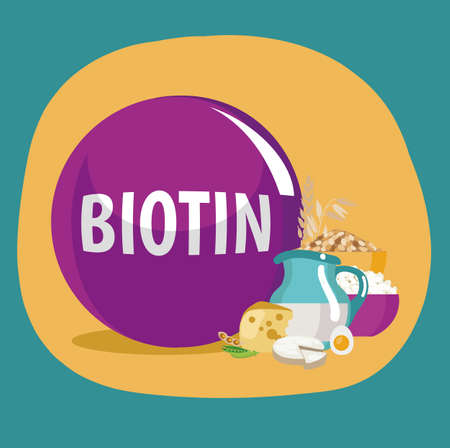 Biotin (vitamin H, vitamin B7) food sources. Natural organic products with the maximum content of biotin. Illustration