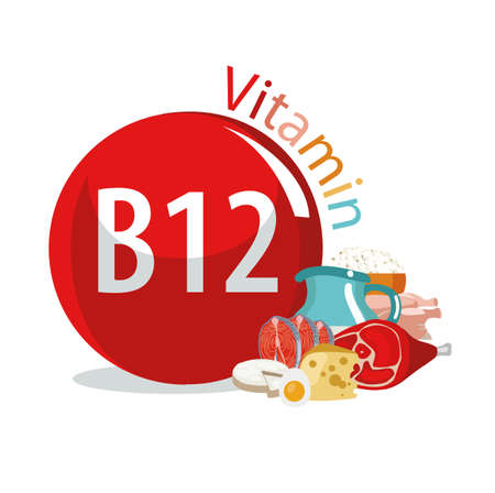 Vitamin B12 food sources. Natural organic products with the maximum content of vitamin B12. 版權商用圖片 - 94850140