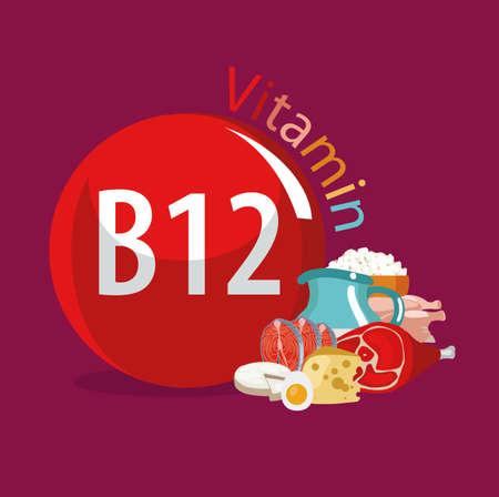 Vitamine B12 sources de nourriture. Produits organiques naturels à teneur maximale en vitamine B12. Banque d'images - 94850141