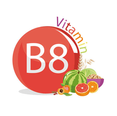 Vitamin B8 (inositol). Natural organic products (vegetables and fruits) with the highest content of vitamin B8. Stock Illustratie