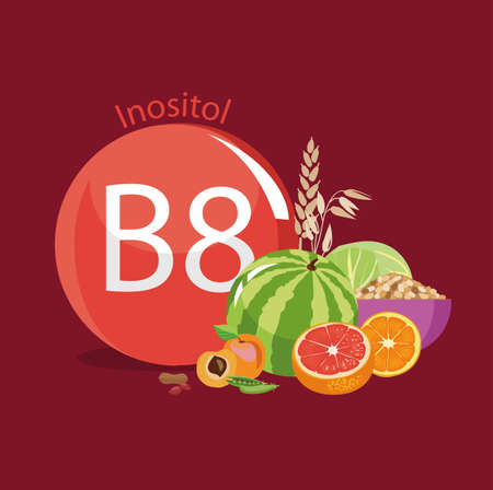 Vitamin B8 (inositol). Natural organic products (vegetables and fruits) with the highest content of vitamin B8. red Illustration