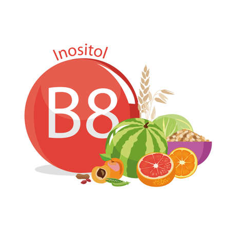Vitamin B8 (inositol). Natural organic products (vegetables and fruits) with the highest content of vitamin B8. white Ilustração