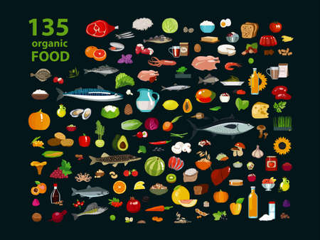 135 organic products. Natural food (meat products, vegetables, fruits, dairy products) in a set. Isolate on a black background Illustration