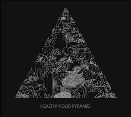 Food pyramid. Healthy food - natural organic products (cereals, meat, dairy products, vegetables, fruits). Healthy diet. Contour black and white  Vettoriali