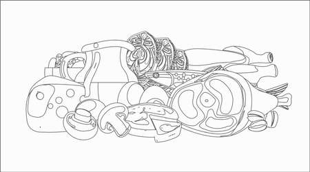 Food dairy products, fish, and meat contour drawing coloring design