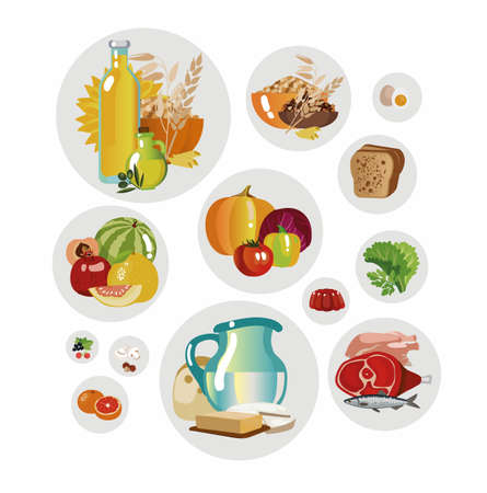 A set of food stuffs. Fundamentals of healthy eating. Vector illustration.