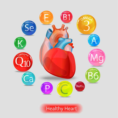 Healthy heart. Vitamins and minerals. Magnesium, potassium, omega-3, coenzyme Q10 and others. Color Stock Vector - 98412862