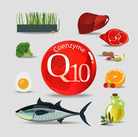 Coenzyme q10. Healthy eating. Natural organic products with a high content of coenzyme q10. Set