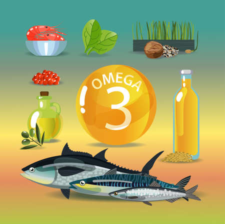 Omega 3. Polyunsaturated fatty acids. Normalization of cardiac activity. Color