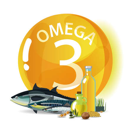 Omega 3 Polyunsaturated fatty acids. Natural organic food with high omega-3 content. Fundamentals of healthy nutrition.  イラスト・ベクター素材