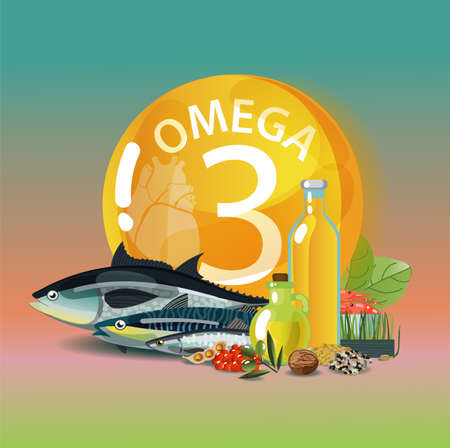 Omega 3 Polyunsaturated fatty acids. Normalization of cardiac activity Basics of a healthy lifestyle. Stock Illustratie