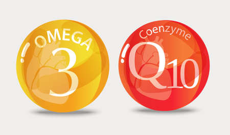 Coenzyme q10 and Omega 3. Normalization of cardiac activity. Basics of a healthy lifestyle.  イラスト・ベクター素材
