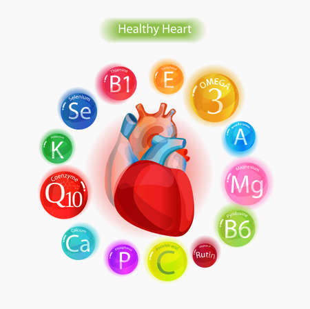 Healthy heart Vitamins and minerals Magnesium, potassium, omega-3, coenzyme Q10 and others. Fundamentals of healthy eating.