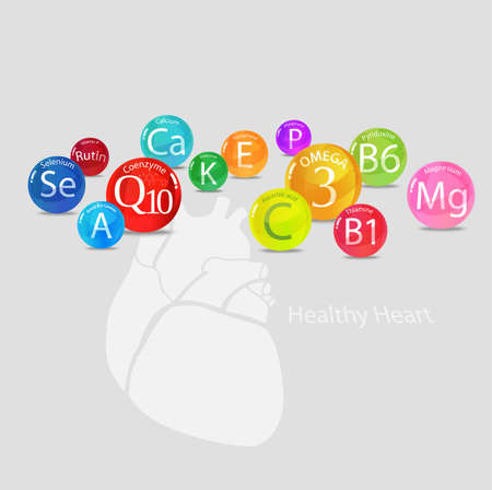 Healthy heart Vitamins and minerals Magnesium, potassium, omega-3, coenzyme Q10 and others. Fundamentals of healthy eating Bright composition Illustration