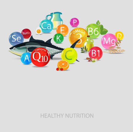 Vitamins and minerals. Magnesium, potassium, omega-3, coenzyme Q10 and others. Fundamentals of healthy eating. Bright composition of vitamins and natural organic food. Illustration
