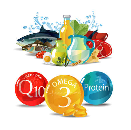 Natural fresh organic food containing a large number of trace elements - omega-3, coenzyme and proteins. Fundamentals of healthy eating.