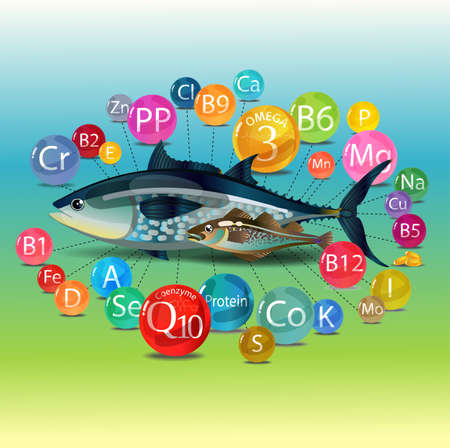 Natural organic food is fish. Basic Vitamins, minerals and microelements found in fish. Tuna and cod. Color composition Vector illustration. Stock Illustratie