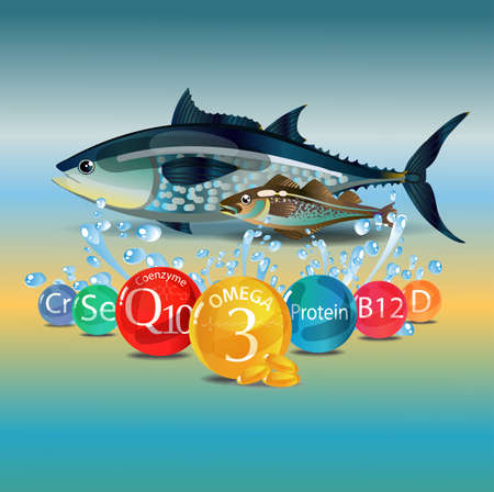 The basis of a healthy diet. Seafood - fish and microelements. Colorful background with splashes of water Vector illustration.