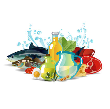 Natural fresh organic food Vector illustration.