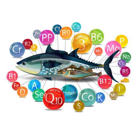 Microelements (vitamins, minerals) in fish. The basis of a healthy diet Vector illustration. Illustration