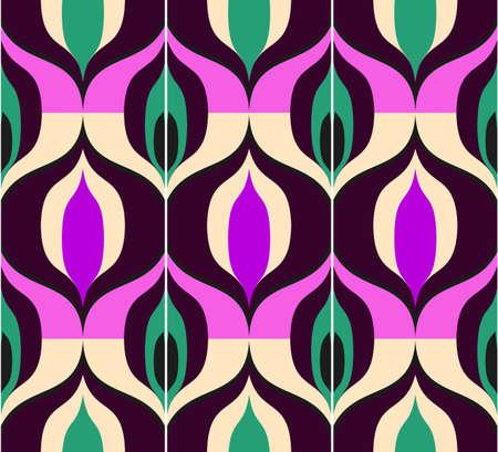 Patrón retro sin fisuras al estilo de los años sesenta. Papel tapiz o tela vintage art deco. Ilustración de vector