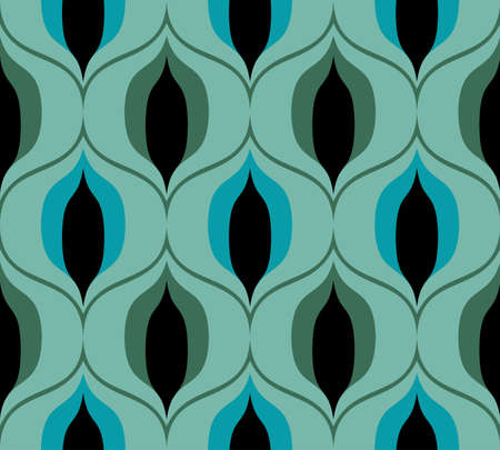 Seamless retro pattern in the style of the sixties. Art deco vintage wallpaper or fabric. Asian style pattern