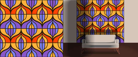 Seamless retro pattern in the style of the sixties. Art deco vintage wallpaper or fabric. Retro interior  イラスト・ベクター素材
