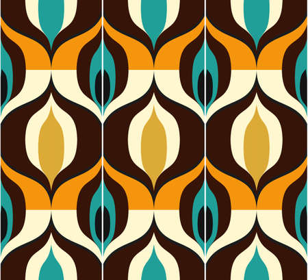 Seamless retro pattern in the style of the sixties. Art deco vintage wallpaper or fabric.