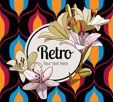Flower framing. Lilies and text pattern on vintage seamless pattern. Retro Style Sixties  イラスト・ベクター素材