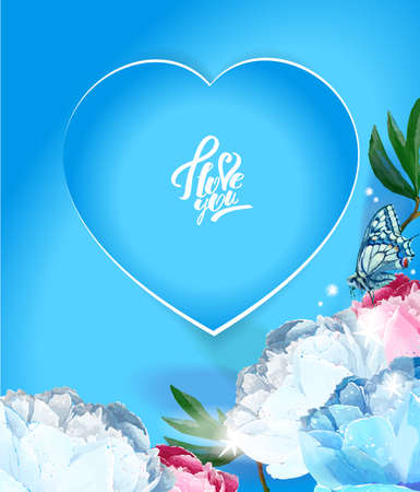 Delicate peony flowers with a heart symbol. A declaration of love. Blue, pink, white. Archivio Fotografico - 129767080