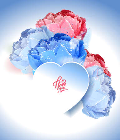 Delicate peony flowers with a heart symbol. A declaration of love. Blue, white, pink Archivio Fotografico - 129767099