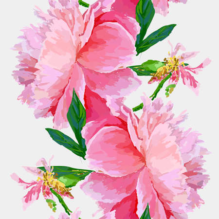 A picturesque peony flower. Seamless pattern